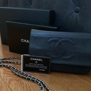 Chanel Wallet on a Chain - Black Cavier